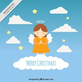 空の天使とメリークリスマスの背景