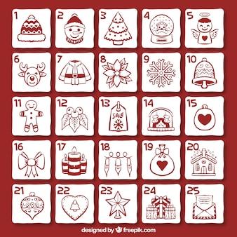 クリスマスデコレーションスケッチのアドベントカレンダー