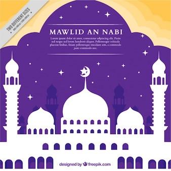 預言者生誕祭お祝いモスクのシルエットの背景