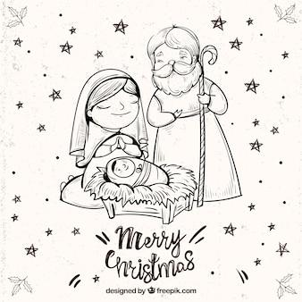 キリスト降誕シーンのスケッチとメリークリスマスの背景