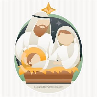 抽象的なデザインのキリスト降誕シーンの背景