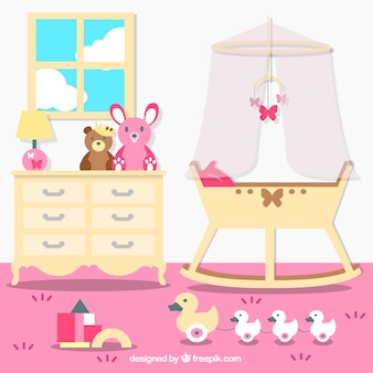 ピンクの壁と美しいベビールーム