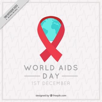 赤いリボンのエレガントな背景世界のエイズ日