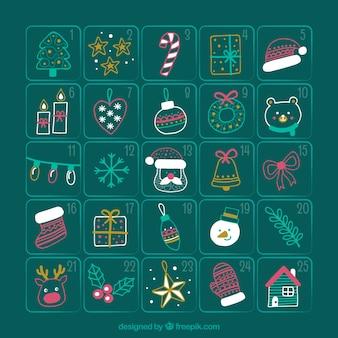 クリスマスのスケッチのアドベントカレンダー