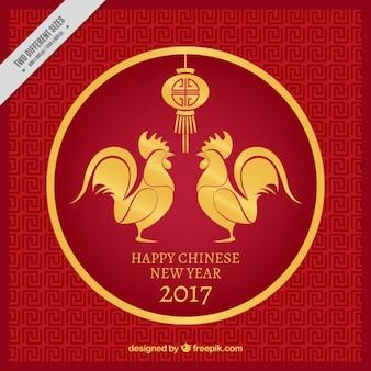 Китайский новый год фон с золотыми петухами и фонарем