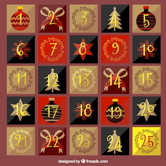 黄金の番号を持つ美しいヴィンテージアドベントカレンダー