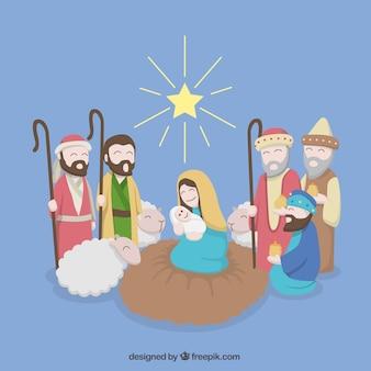 中央に処女とイエス・キリストとキリスト降誕シーンの背景