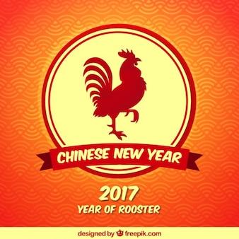 Китайский новый год фон с красным петухом