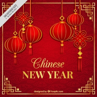 提灯と中国の新年の背景