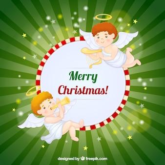 Веселый фон рождественские ангелы с музыкальными инструментами