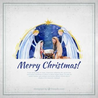 水彩画の降誕シーンでメリークリスマスカード