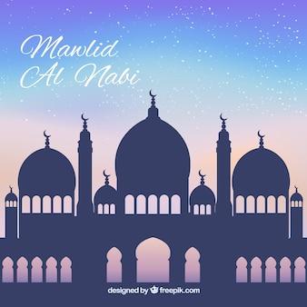 モスクのシルエットの預言者生誕祭背景