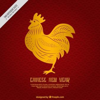 Китайский новый год фон с золотым петухом