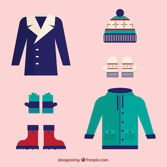 フラットデザインの冬の衣装
