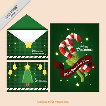 キャンディケインと星付き封筒やクリスマスポストカード