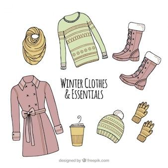 Ассортимент аксессуаров и рисованной зимней одежды