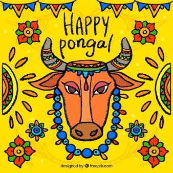 Красочный фон с понгал коровьих и цветочными элементами