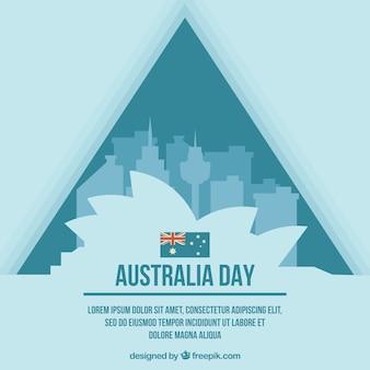Сиднейский оперный театр со зданиями, чтобы отпраздновать день австралии