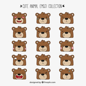 表情豊かな顔を持つ手描きクマ