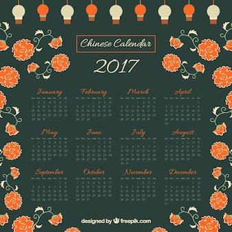 花や提灯と中国の新しい年カレンダー