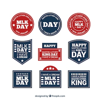 マーティン・ルーサー・キングの日のために準備青と赤のステッカーのコレクション