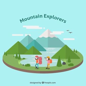 フラットデザインの探検家と山岳風景イラスト