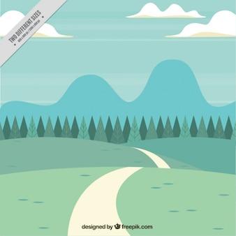 経路と草のフィールドの背景