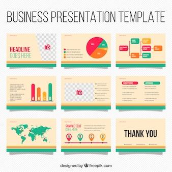インフォグラフィック要素を持つビジネスプレゼンテーションテンプレート