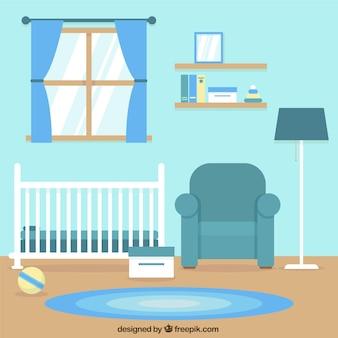 フラットデザインの赤ちゃんのためのブルー部屋を片付けます