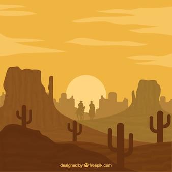 Плоский западный фон с двумя ковбоями