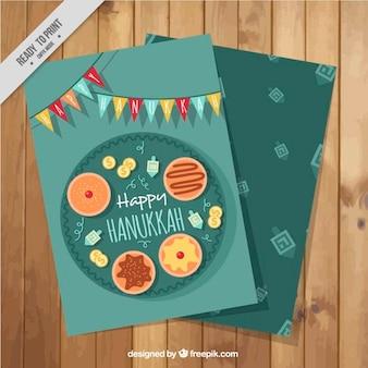 Плоский ханука карты со сладостями и красочными гирляндами