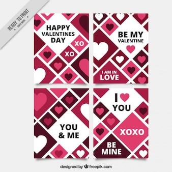 菱形と心を持つさまざまなバレンタインカード