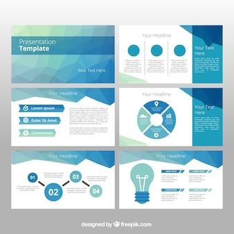 インフォグラフィック要素を持つ多角形のビジネステンプレート