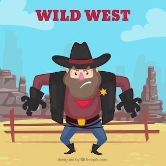 怒っている保安官と西洋の背景