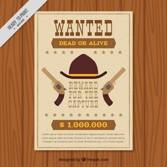犯罪者のヴィンテージ西部のポスターの要素