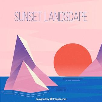 幾何学的なスタイルで日没の背景
