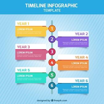Временная шкала инфографики с шестью шагами