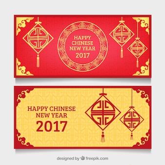 幾何学的な装飾が施された中国の旧正月のためのバナー