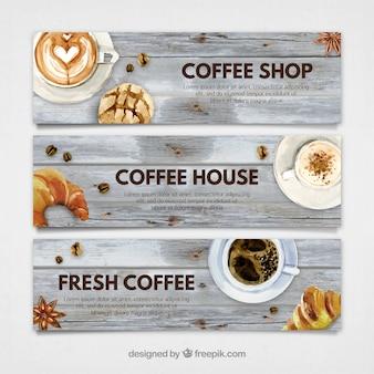 水彩コーヒーショップバナー