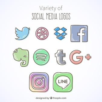 Набор хорошей стороны обращено иконки социальных медиа
