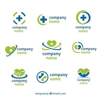 Набор из девяти зеленых и синих логотипов для здоровья
