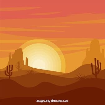 オレンジ色のトーンでサボテンとフラット風景