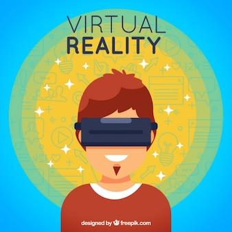 仮想現実メガネと抽象的な背景の少年