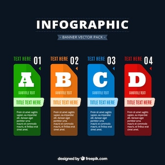 Коллекция из четырех красочных баннеров инфографики