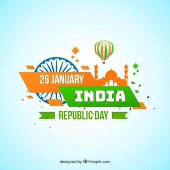 インド共和国の日のための緑とオレンジの背景