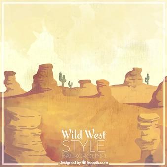 水彩画のスタイルでファンタスティック西部の背景