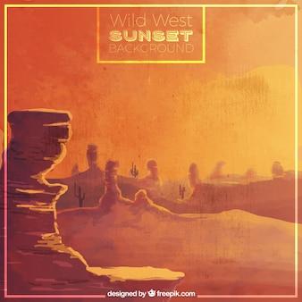 日没時の水彩画西部の背景
