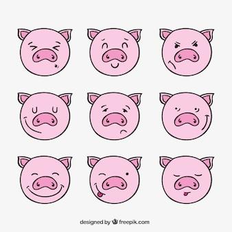 幻想的な豚の顔文字のセット