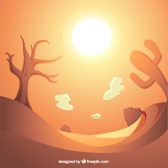 Блестящий фон пустыни с сухим деревом и кактус