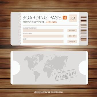 装飾的な地図とグレー搭乗券